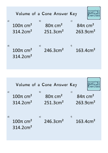 Increasingly Difficult Questions - Volume of a Cone