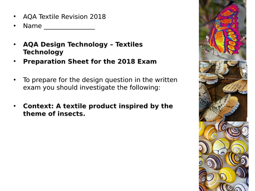 AQA Textile Design Question for the Exam - theme of Insects. 2018