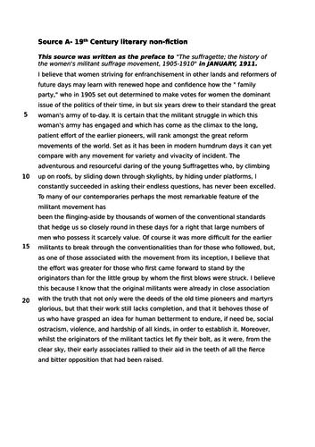 AQA GCSE English Language Paper 2 Mock: Suffragettes (good for International Women's Day)