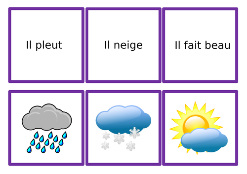 French Weather Pairs/Snap/Matching Game