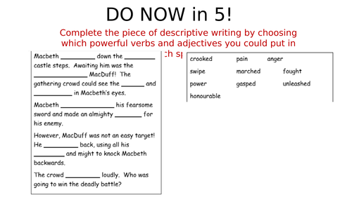 Macbeth descriptive writing