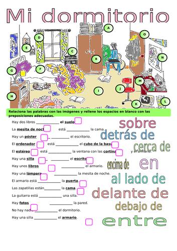 Mi dormitorio / My room / Prepositions
