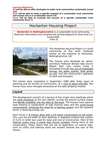 Developing sustainable rural communities - Hockerton, Nottinghamshire