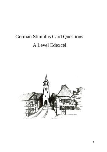 German A Level Oral Exam Questions (Edexcel 2016 Spec)