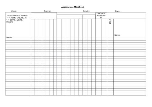 Assessment Marksheet - Blank Template