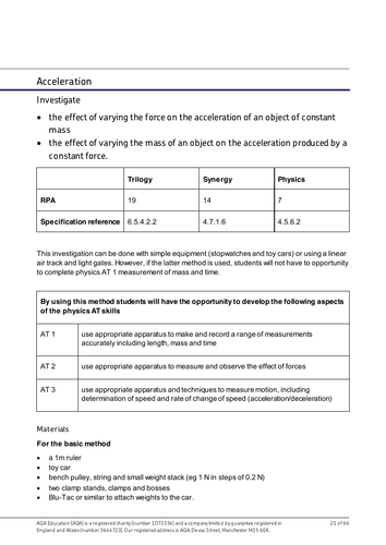 AQA Acceleration required practical