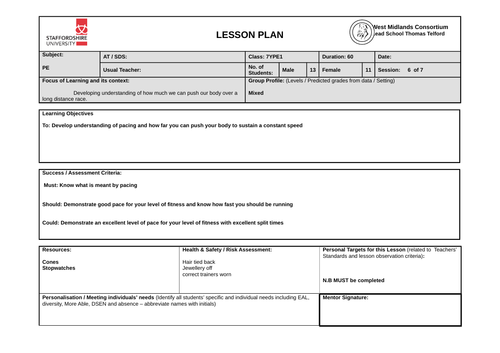 800m Pacing Lesson Plan - Athletics - worksheet / resource included