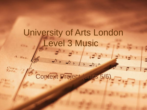 Devising Context in Music Production/Performance (UAL5 & 6)