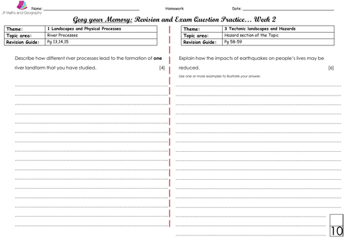WJEC/WJEC Eduqas Spec A-Geog your Memory... WEEK 2- Content and skills based questions (Paper 1&2)