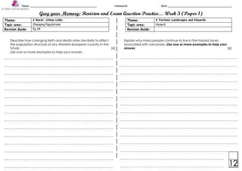 WJEC/WJEC Eduqas Spec A-Geog your Memory... WEEK 3- Content and skills based questions (Paper 1&2