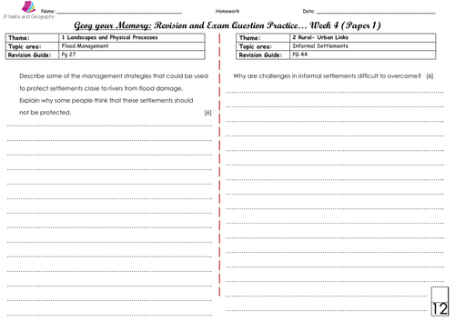 WJEC/WJEC Eduqas Spec A-Geog your Memory... WEEK 4 - Content and skills based questions (Paper 1&2)