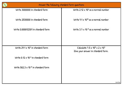 Standard Form Questions Mastery By Phlynn Teaching Resources Tes