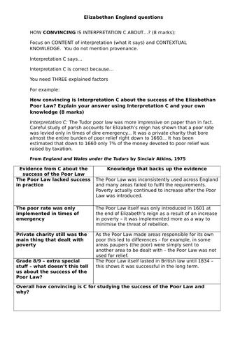 AQA 8145 - Elizabethan England how convincing question revision sheet