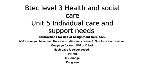 BTEC health and social care level 3 unit 5