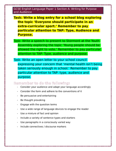 Writing for purpose and audience tasks
