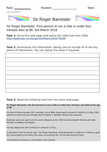 Roger Bannister English Comprehension