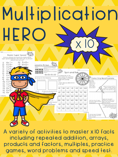 Multiplication HERO x 10 Activity Pack