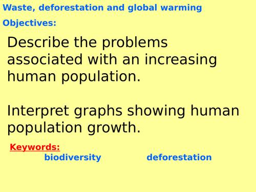 New AQA B7.9 (New Biology GCSE spec 4.7) – Waste management, global warming and deforestation