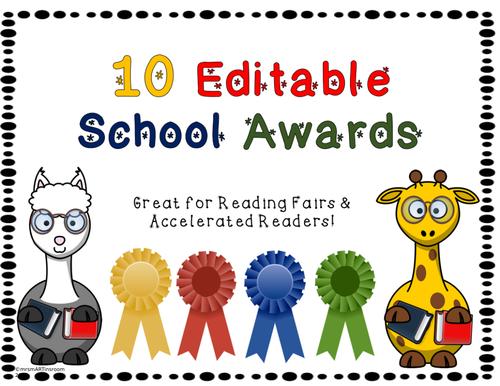Editable School Awards