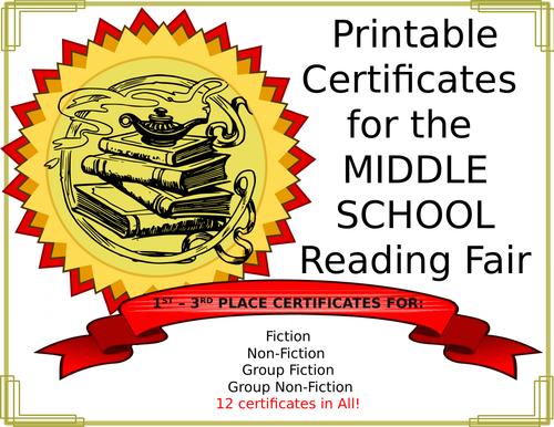 Middle School Reading Fair Awards
