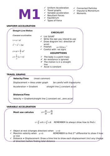 M1 A Level Summary