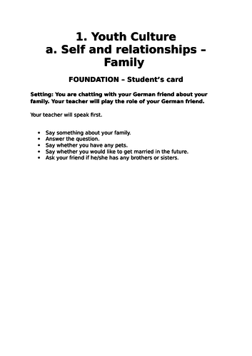 WJEC German GCSE Role-plays - Family