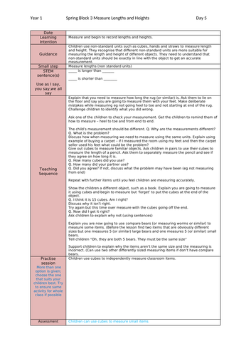 Y1 Maths Mastery Plans Spring Block 3 Week 2 Measures Length and Height