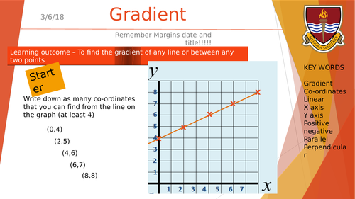 Finding the gradient of a line graph and between two coordinates