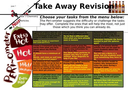 Year 7 Particles Takeaway menu revision h/work