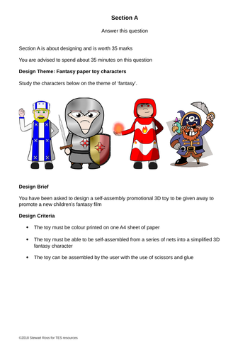"AQA Graphic Products section A practice 2018 theme ""Fantasy Paper Toy Characters"" (1 of 3)"