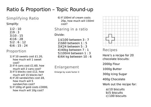Ratio & Proportion Revision/Recap