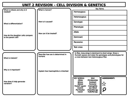 GCSE Biology Cell Division & Genetics Revision Mat