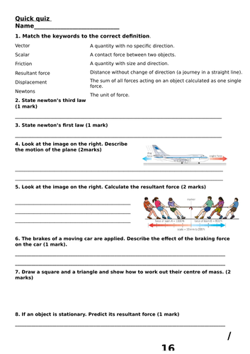 New AQA 2016 Physics chapter 8 Forces in balance summary quick quiz