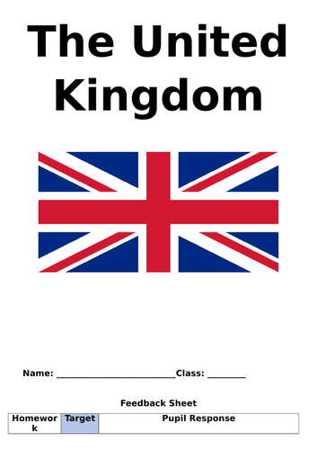 The United Kingdom - Homework booklet / Cover work