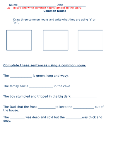 We're going on a bear hunt Nouns, Verbs and Adjectives differentiated  worksheets