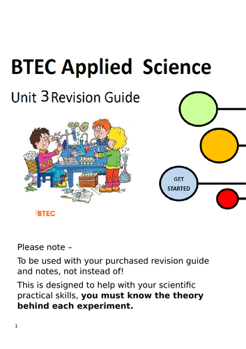 New BTEC National Applied Science Unit 3 Revision guide