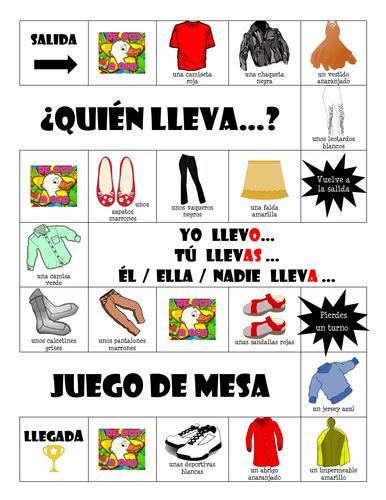 La ropa - ¿Quién lleva? - Board Game