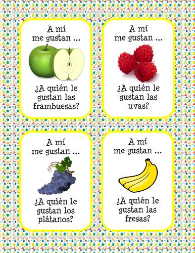 La comida - ¿A quien le gusta(n)...? - Frutas - Card Game