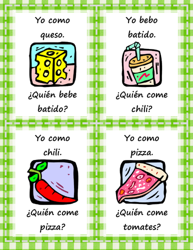 La comida - ¿Quién come/bebe? - Card Game