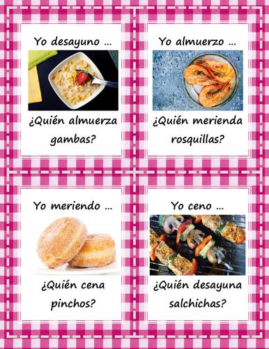 La comida - ¿Quién desayuna/almuerza/cena? - Card Game