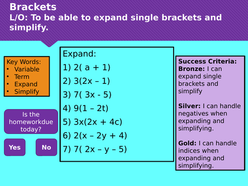 Expanding and Simplifying Brackets