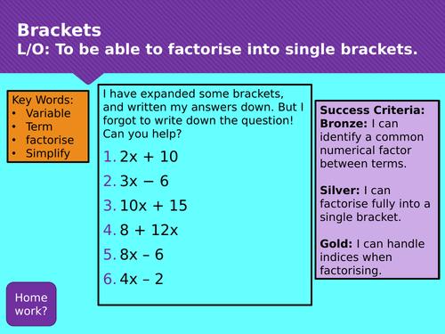 Factorising Single Brackets