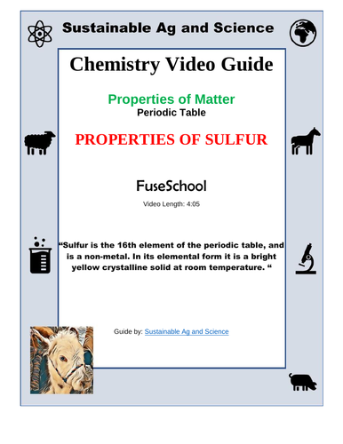 Chemistry Properties Of Sulfur Periodic Table Fuseschool By