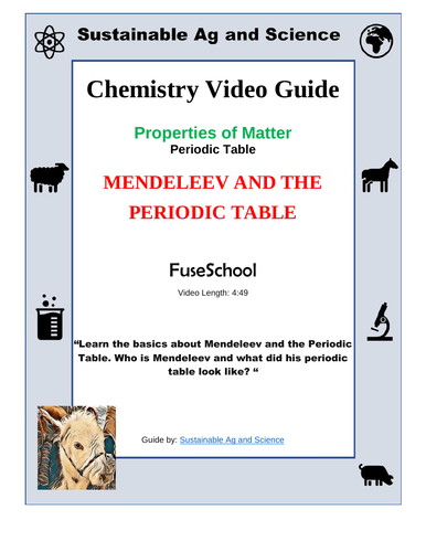 Chemistry Mendeleev And The Periodic Table Periodic Table