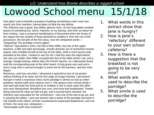 Jane Eyre Lowood School food and menus KS3