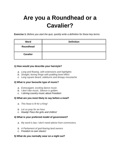 Roundhead  or Cavalier Quiz