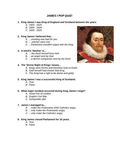 James I Pop Quiz