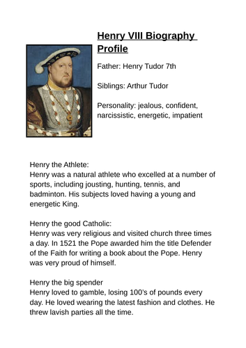 Henry VIII Biography Profile