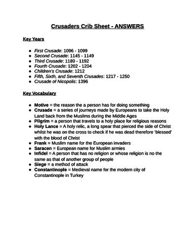 Crusaders Revision Crib Sheet