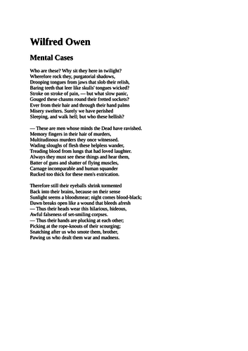 Mental Cases By Wilfred Owen Poetry Reading By Spokenverse